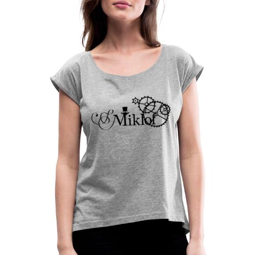 miklof logo black 3000px - Women's T-Shirt with rolled up sleeves