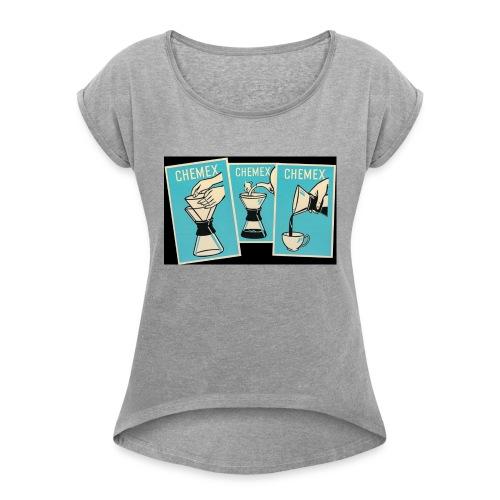 Chemex_06 - T-skjorte med rulleermer for kvinner