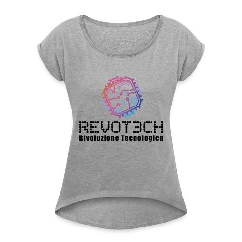 logo revot3ch nero - Maglietta da donna con risvolti