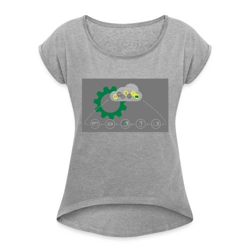Pilvilaskenta - Naisten T-paita, jossa rullatut hihat