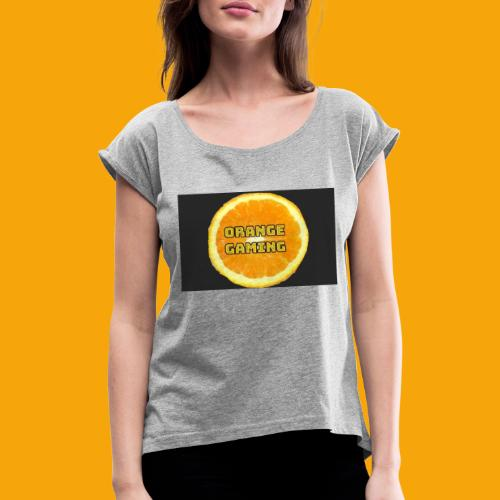 Orange_Logo_Black - Women's T-Shirt with rolled up sleeves