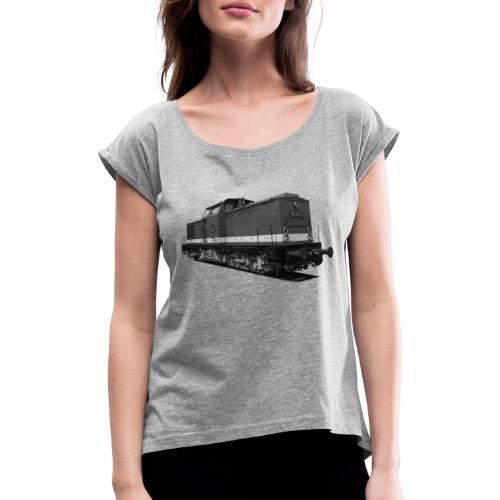 Lokomotive V 100 Diesel Deutsche Reichsbahn DDR - Frauen T-Shirt mit gerollten Ärmeln