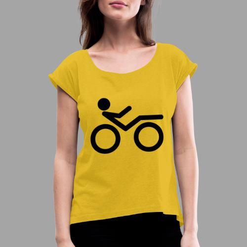 Recumbent bike black 2 - Naisten T-paita, jossa rullatut hihat