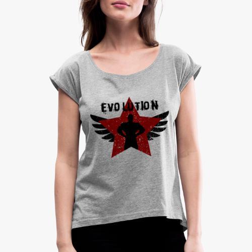 Evolution Revolution - Frauen T-Shirt mit gerollten Ärmeln