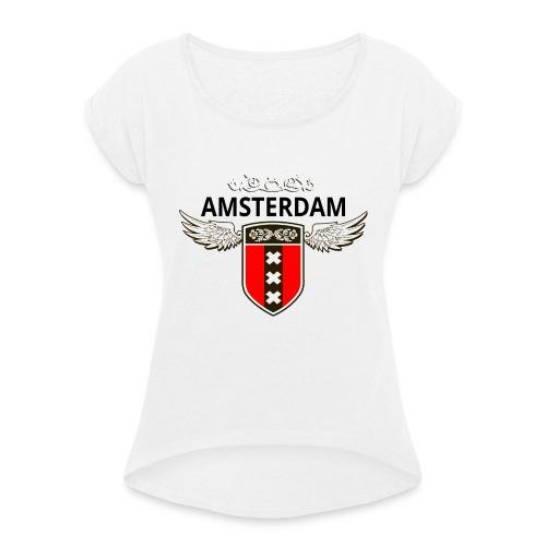 Amsterdam Netherlands - Frauen T-Shirt mit gerollten Ärmeln