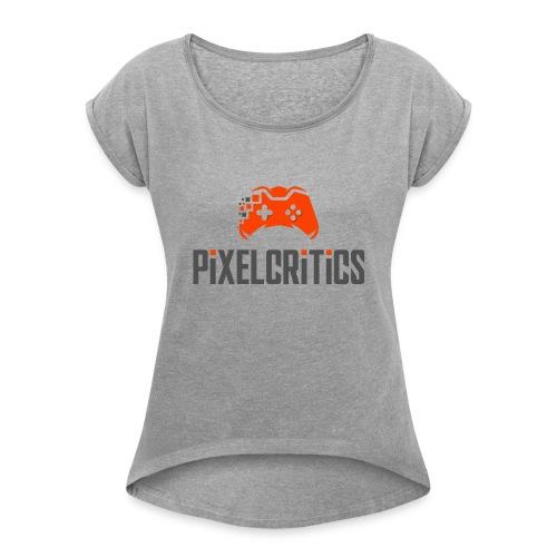 Pixelcritics Logo Dunkel - Frauen T-Shirt mit gerollten Ärmeln