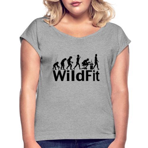 WildFit Logo Evolution in Schwarz - Frauen T-Shirt mit gerollten Ärmeln