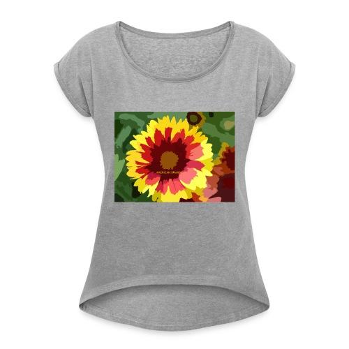 Flor - Camiseta con manga enrollada mujer