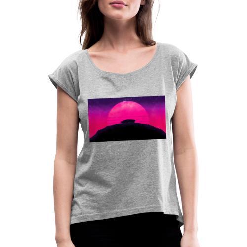 Solnedgång - T-shirt med upprullade ärmar dam