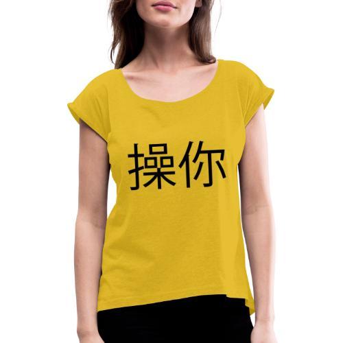 Kina Black - Dame T-shirt med rulleærmer
