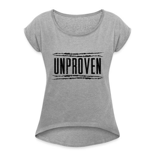 Unproven Lines Black - Vrouwen T-shirt met opgerolde mouwen