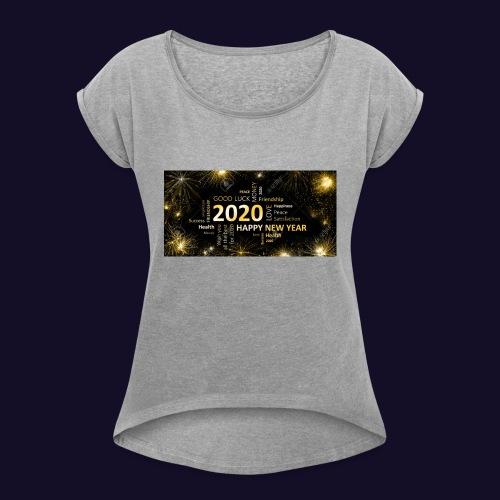90911595 black golden new year card with happy new - Frauen T-Shirt mit gerollten Ärmeln