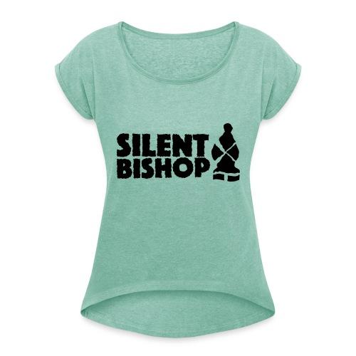 Silent Bishop Logo Groot - Vrouwen T-shirt met opgerolde mouwen