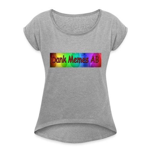 Dank Memes AB Hoodie - T-shirt med upprullade ärmar dam