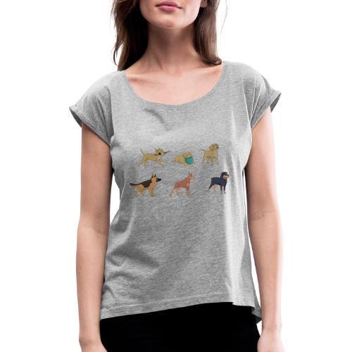DOGS 2 - Frauen T-Shirt mit gerollten Ärmeln