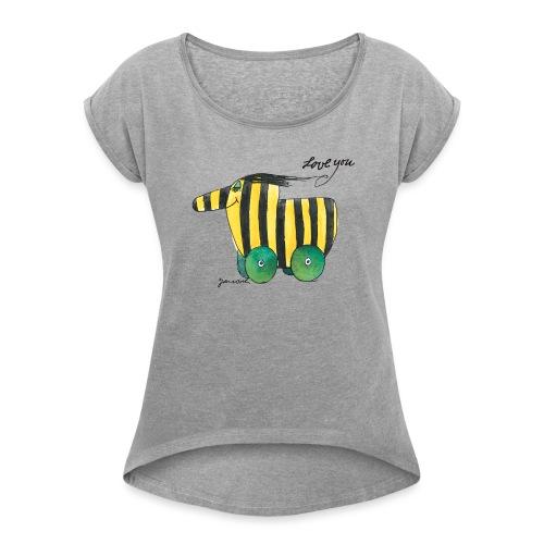 Janosch Tigerente Love you - Frauen T-Shirt mit gerollten Ärmeln