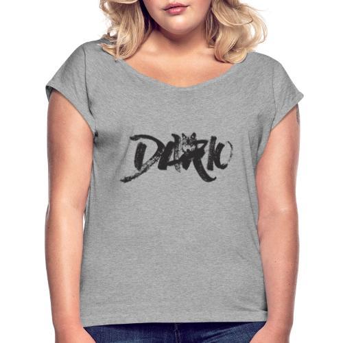 illustration logo noir - T-shirt à manches retroussées Femme