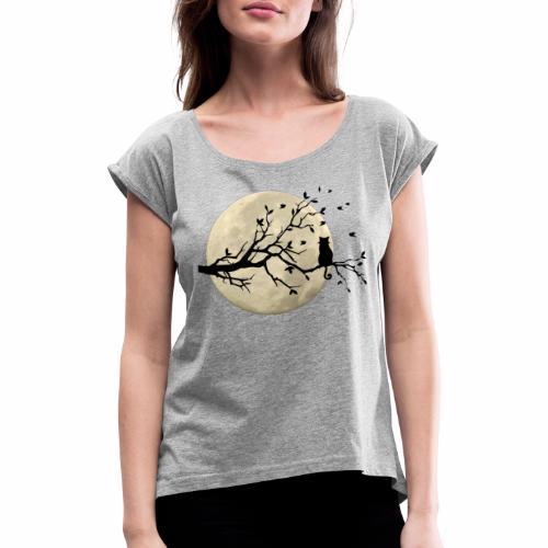 LA LUNA E IL GATTO/THE CAT AND MOON/ - Maglietta da donna con risvolti