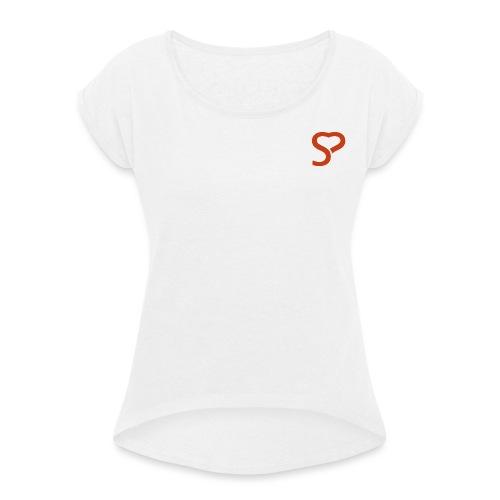 Kleidung & Accessoires - made with love - Frauen T-Shirt mit gerollten Ärmeln
