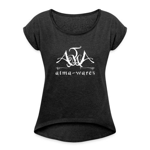 atma wares logo white - Vrouwen T-shirt met opgerolde mouwen