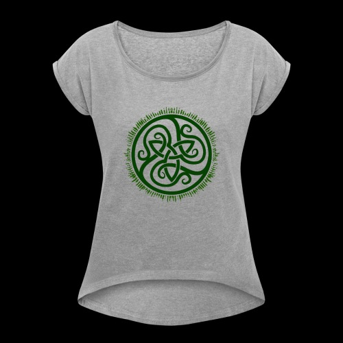 Green Celtic Triknot - Women's T-Shirt with rolled up sleeves