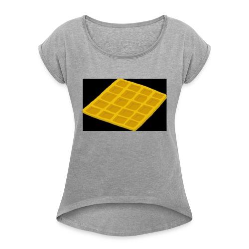 Waffel - Frauen T-Shirt mit gerollten Ärmeln