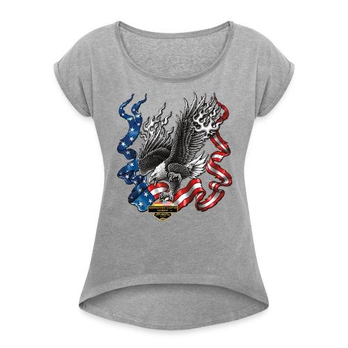 american eagle schrift gross - Frauen T-Shirt mit gerollten Ärmeln