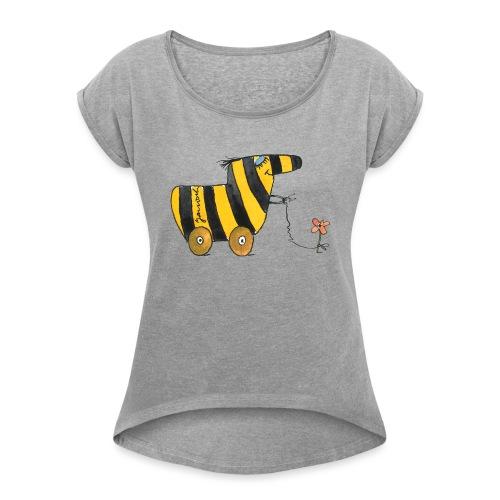 Janoschs Tigerente mit Blume - Frauen T-Shirt mit gerollten Ärmeln