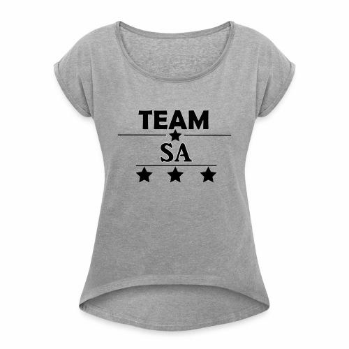 Team SA Logo - T-shirt med upprullade ärmar dam
