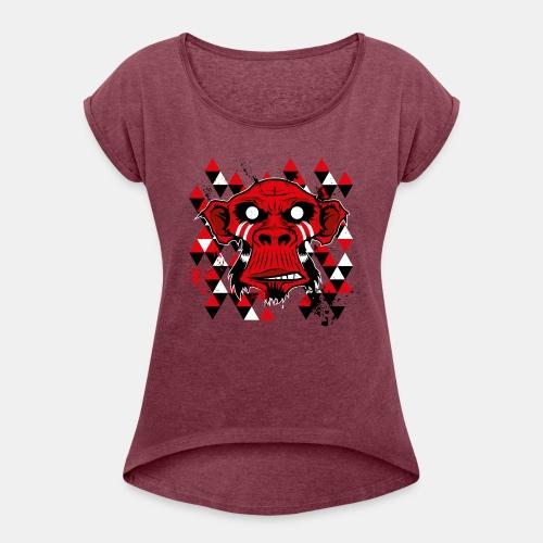 monkey-4 - Frauen T-Shirt mit gerollten Ärmeln