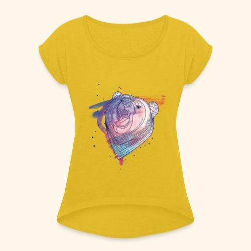 Moderner Bär - Frauen T-Shirt mit gerollten Ärmeln
