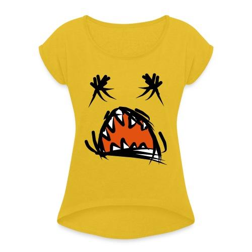 horror mond - Vrouwen T-shirt met opgerolde mouwen