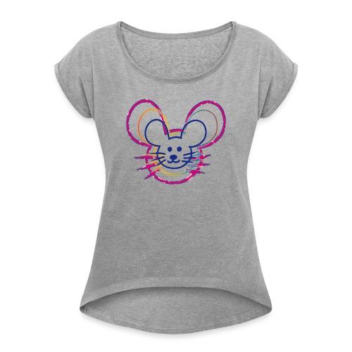 kleines Mausgesicht/Mäuse - Frauen T-Shirt mit gerollten Ärmeln