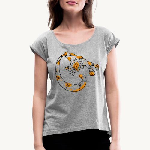 Gingercat - Frauen T-Shirt mit gerollten Ärmeln