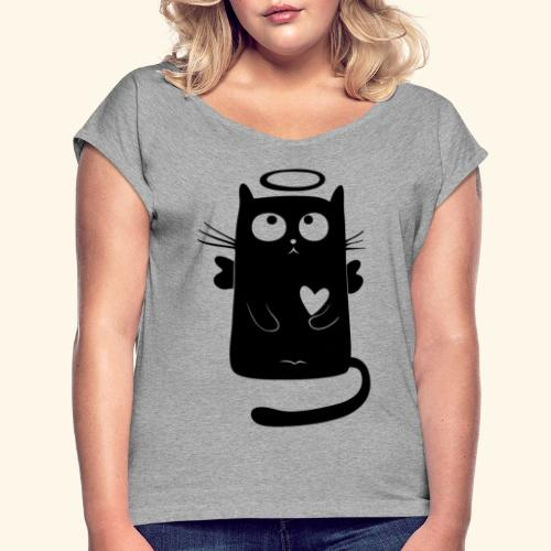 Gato angelical - Camiseta con manga enrollada mujer