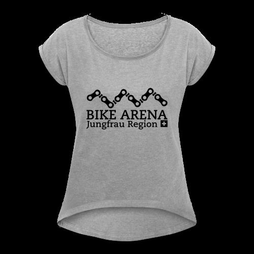 Bike Arena Black Rider - Frauen T-Shirt mit gerollten Ärmeln