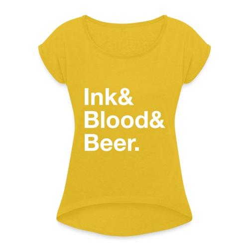 Scritta_InkBloodBeer_noha - Maglietta da donna con risvolti