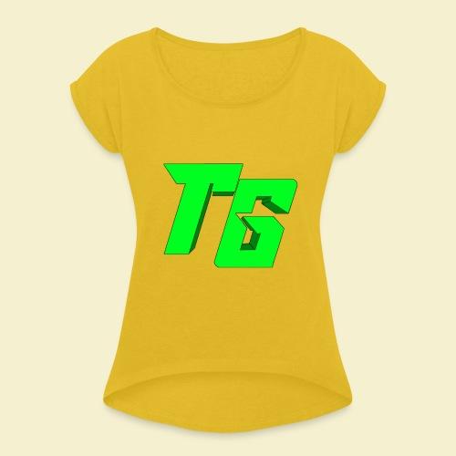 TristanGames logo merchandise [GROOT LOGO] - Vrouwen T-shirt met opgerolde mouwen