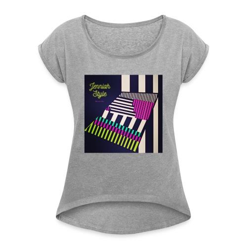 Stairs - stripe - Frauen T-Shirt mit gerollten Ärmeln