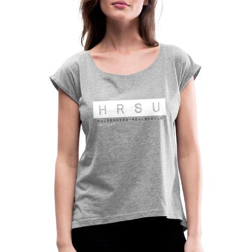 HRSU Wear Tape Red Big white - Frauen T-Shirt mit gerollten Ärmeln