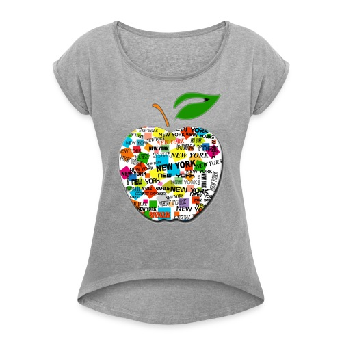 ny apple - Maglietta da donna con risvolti