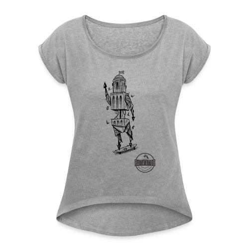 ZWOLLE 038 rattatattoo zwolle perperbus - Vrouwen T-shirt met opgerolde mouwen