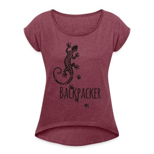 Backpacker - Running Ethno Gecko 1 - Frauen T-Shirt mit gerollten Ärmeln