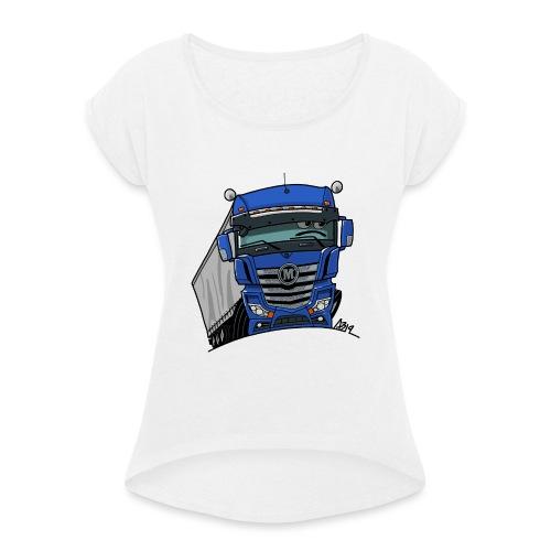 0807 M truck blauw trailer - Vrouwen T-shirt met opgerolde mouwen