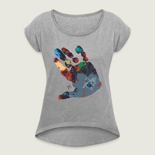 manocolor - Maglietta da donna con risvolti
