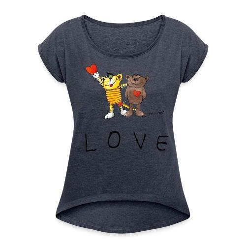 Janosch LOVE Schiftzug Tiger und Bär - Frauen T-Shirt mit gerollten Ärmeln