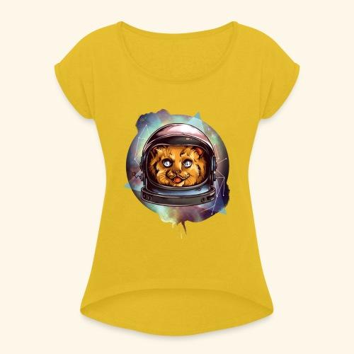 Space Katze - Frauen T-Shirt mit gerollten Ärmeln