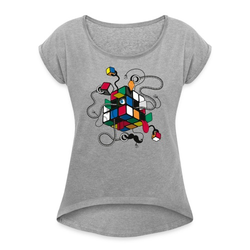 Rubik's Cube Robot Style - Women's T-Shirt with rolled up sleeves