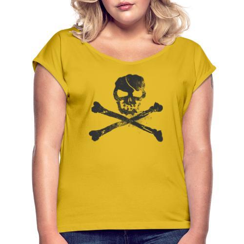 Dödskalle - T-shirt med upprullade ärmar dam