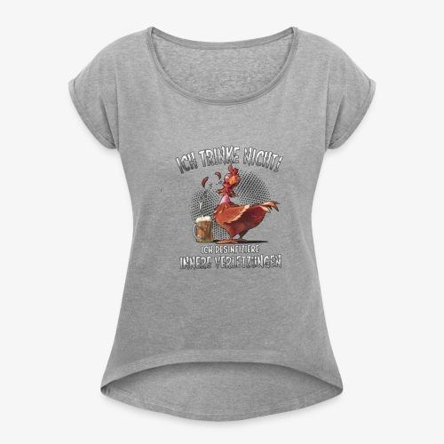 HUHN - Frauen T-Shirt mit gerollten Ärmeln